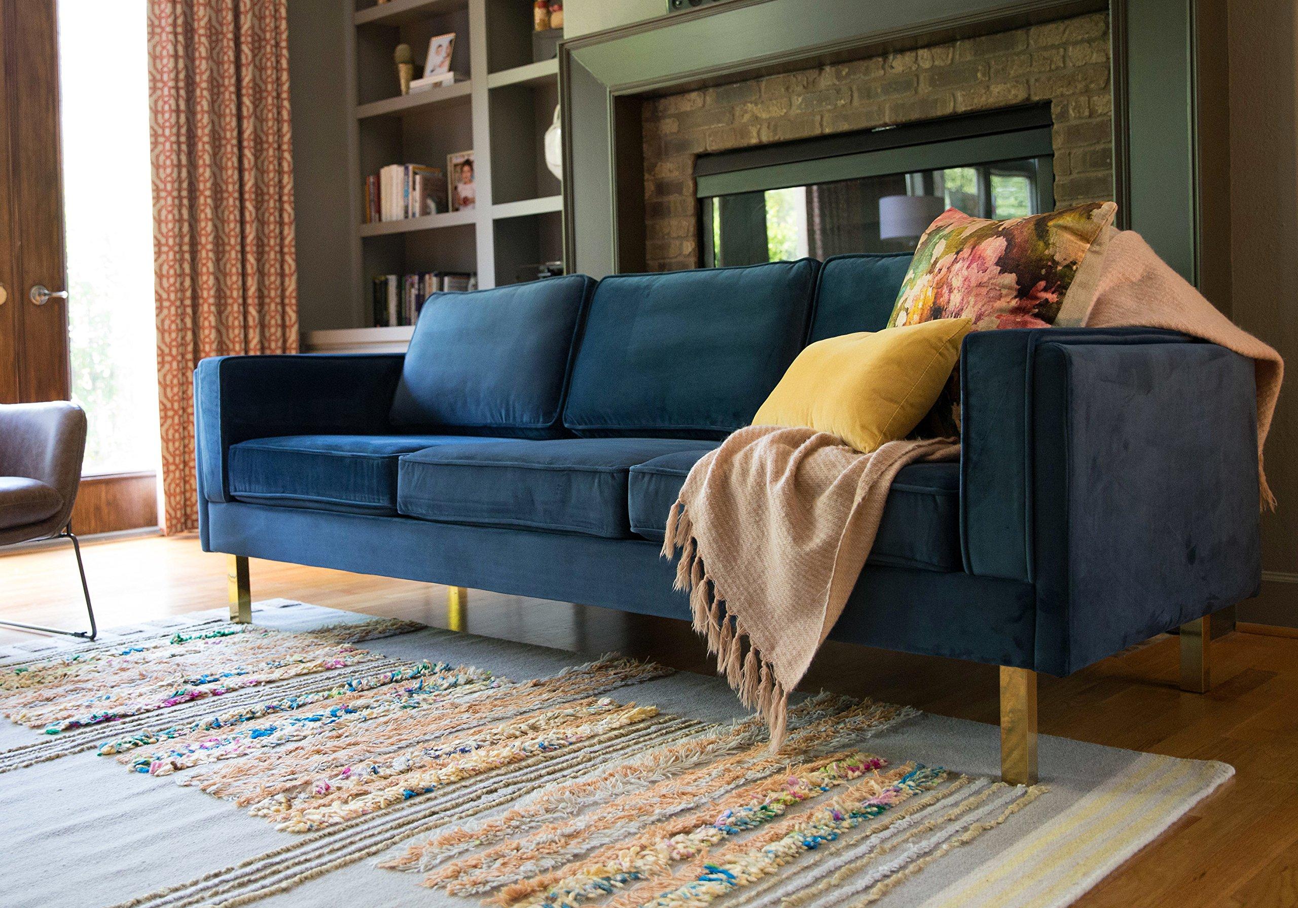 Admirable Edloe Finch Midcentury Modern Lexington Blue Velvet Sofa 87 Bralicious Painted Fabric Chair Ideas Braliciousco