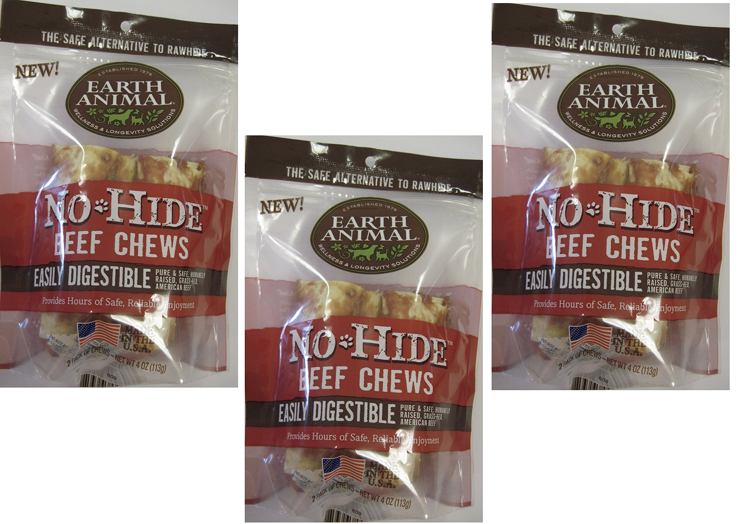 (3 Packages) Earth Animal No-Hide Beef Chews 4'' (2 Chew Per Pack, 6 Chew Total)