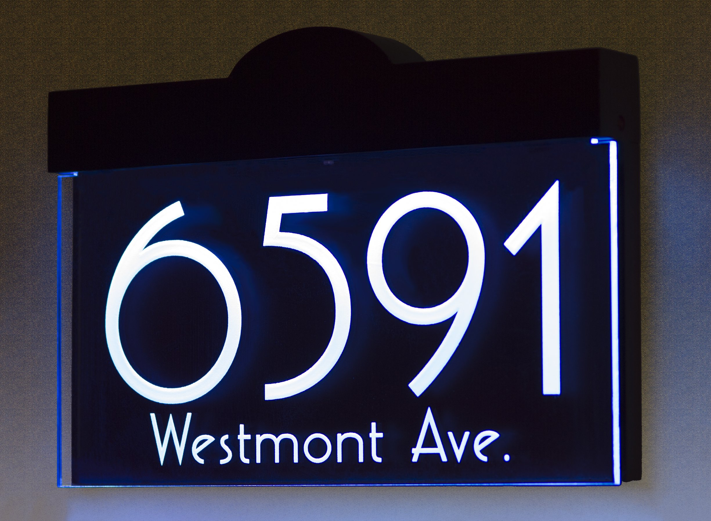 12V DC Auto On/Off Custom House Numbers Address Sign Address Plaque Lighted with LED - Laser Engraved On Acrylic Sign With Wood Frame