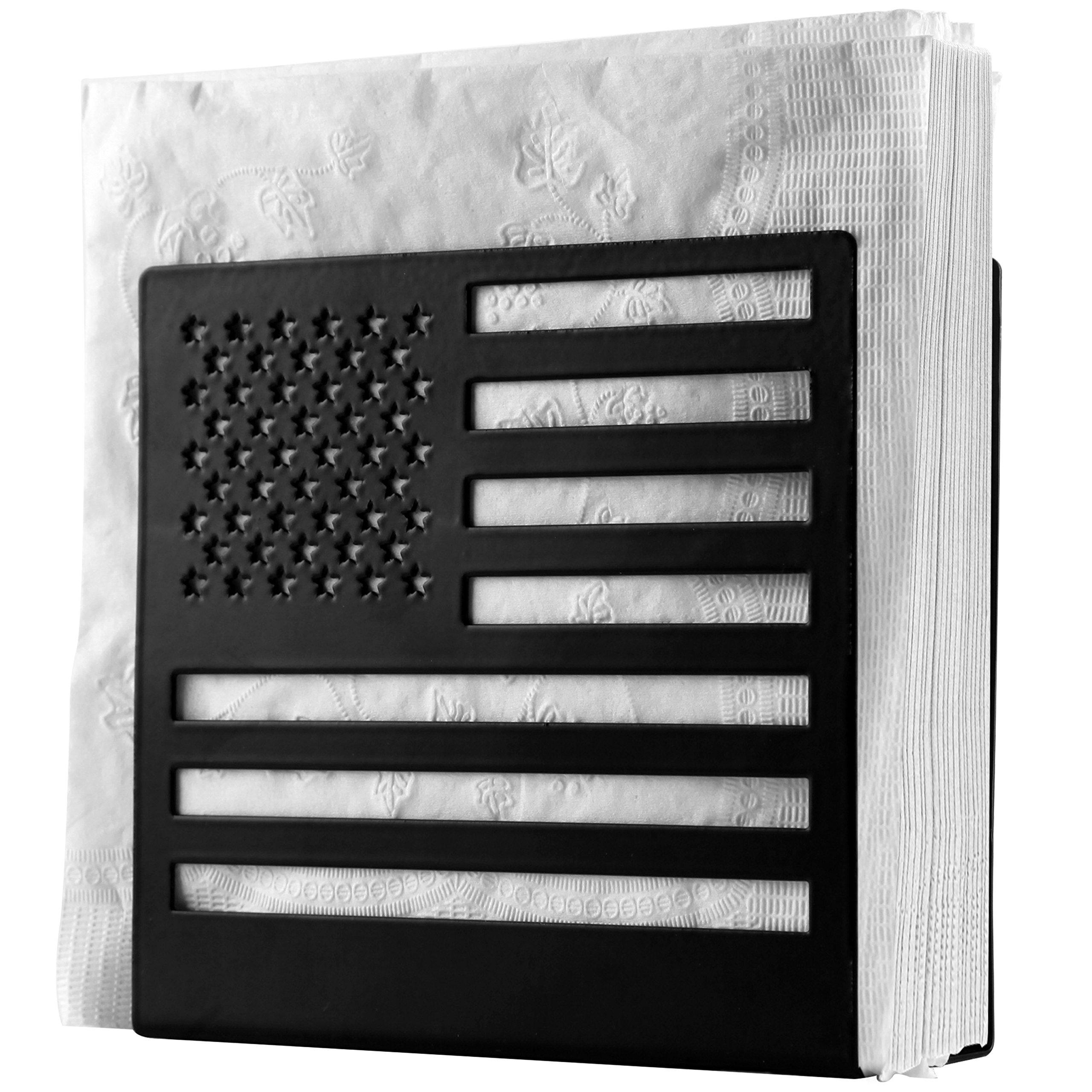 Black Metal American Flag Cut-out Design Tabletop Paper Napkin Holder, Freestanding Tissue Dispenser by MyGift