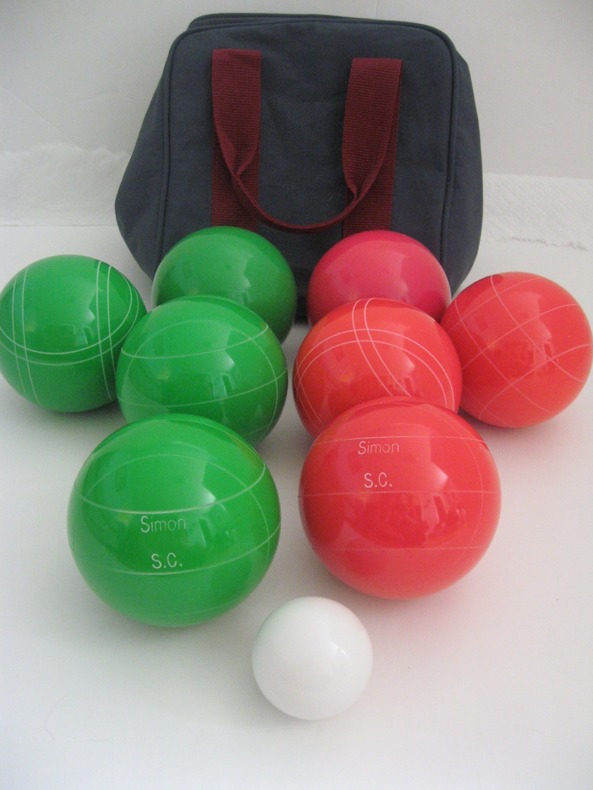 Premium Quality Engraved Bocce Package - 110mm Epco Green and Light Red Balls with Engraving