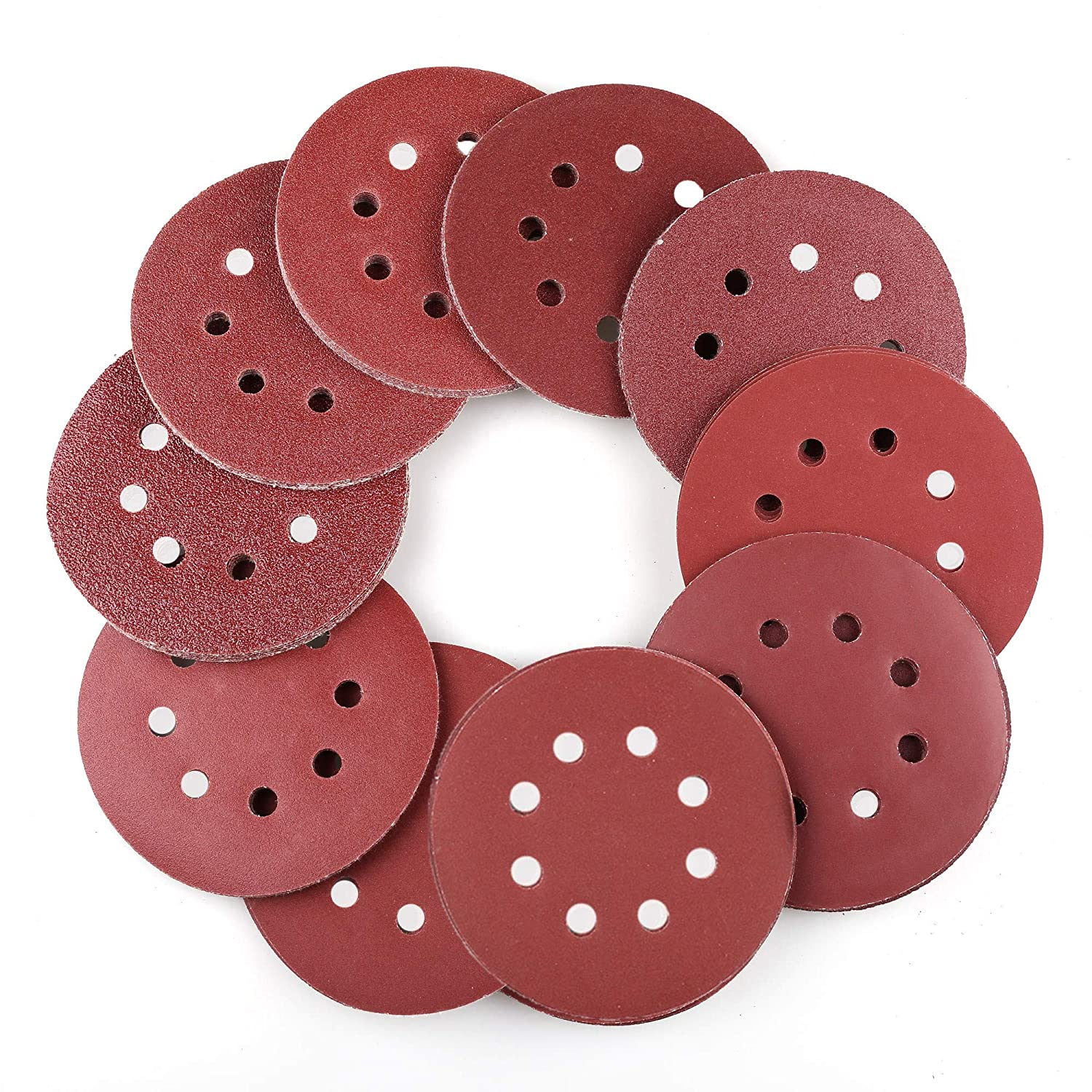 Details about  /50 Pcs 5 Inches 8 Hole Hook And Loop Sanding Discs S Round  Sandpaper 80 Grit