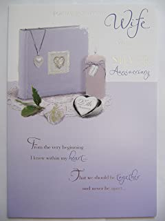 STUNNING 6 VERSE WIFE ON OUR 25TH SILVER WEDDING ANNIVERSARY GREETING CARD