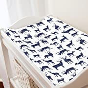 Carousel Designs Windsor Navy Deer Changing Pad Cover - Organic 100% Cotton Change Pad Cover - Made in the USA