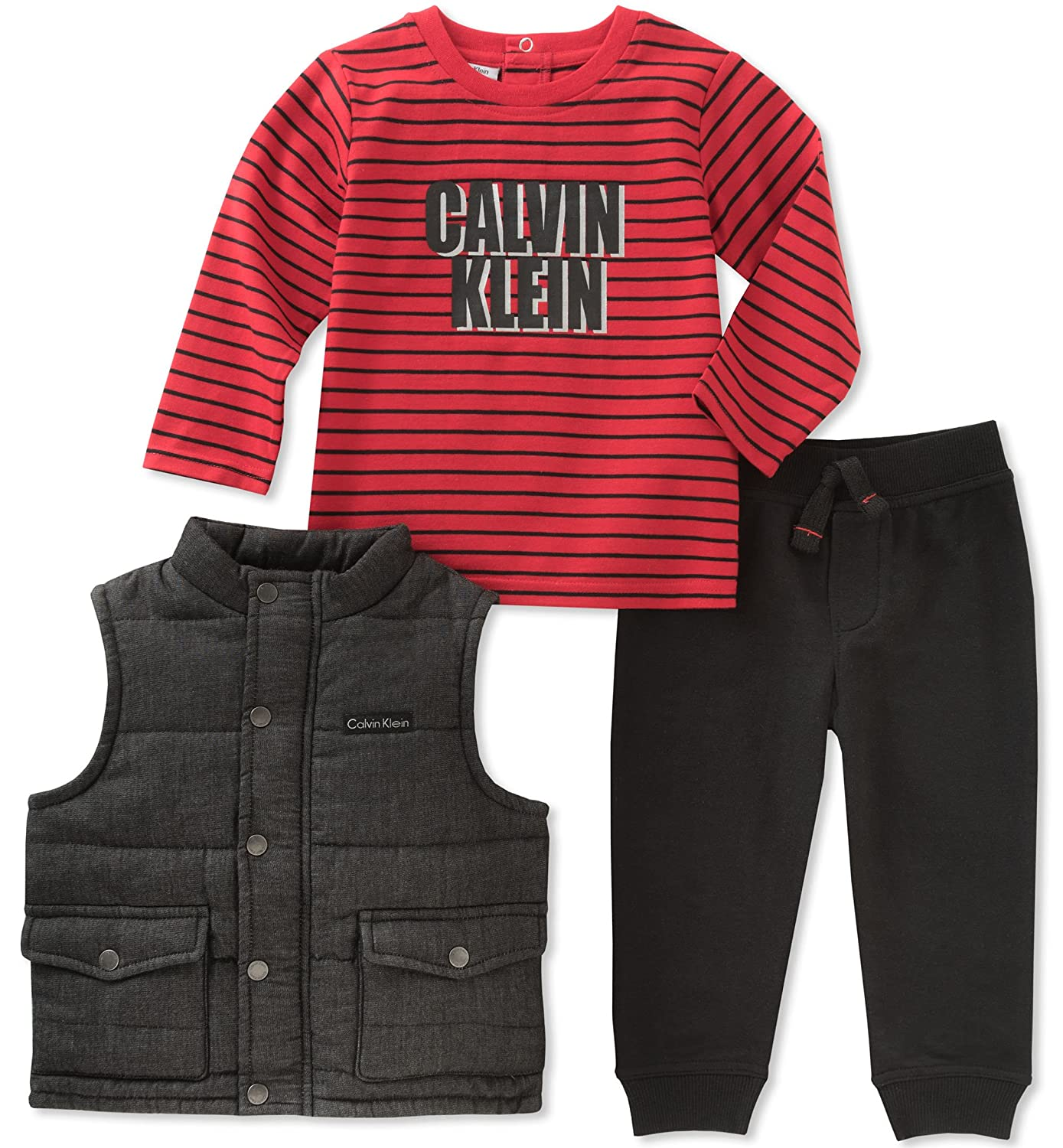 b7c83ca51fe1 Amazon.com  Calvin Klein Baby 3 Pc Vest Set Boys  Clothing