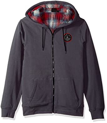 Amazon.com  Hurley Men s Flannel Lined Zip Up Two Layer Hoodie with ... be35497e9