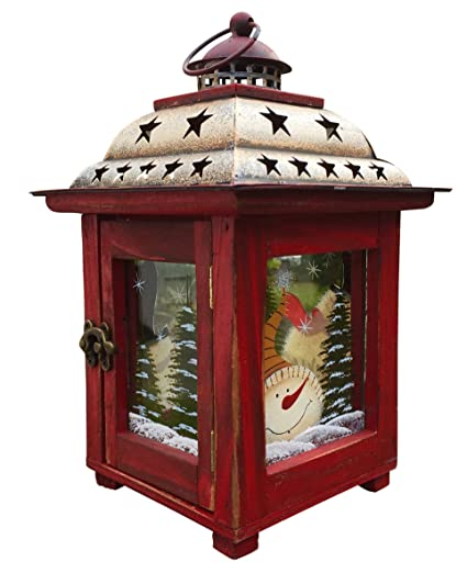 clovers garden christmas snowman lantern decoration decorative holiday table centerpiece or hanging lantern holder for - How To Decorate A Lantern For Christmas