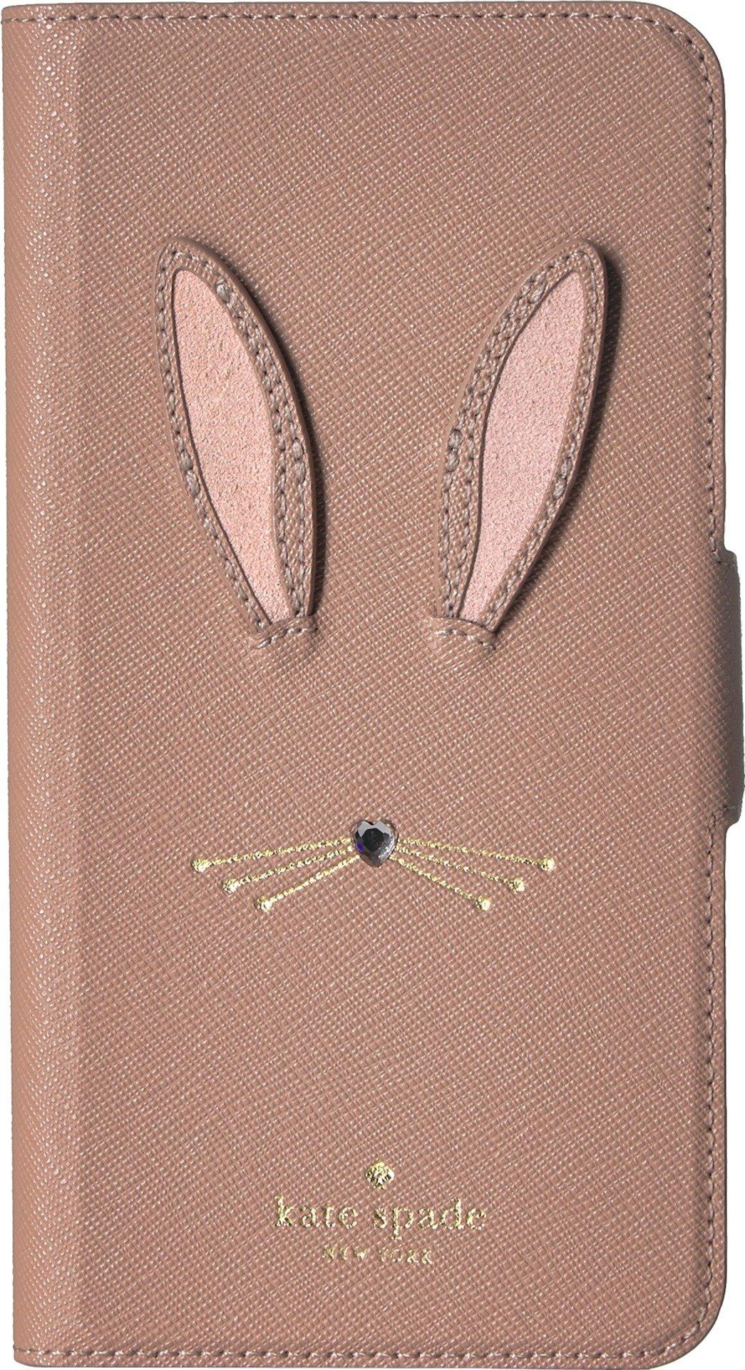 Kate Spade New York Women's Rabbit Applique Folio Phone Case for iPhone 8 Plus Tan Multi One Size