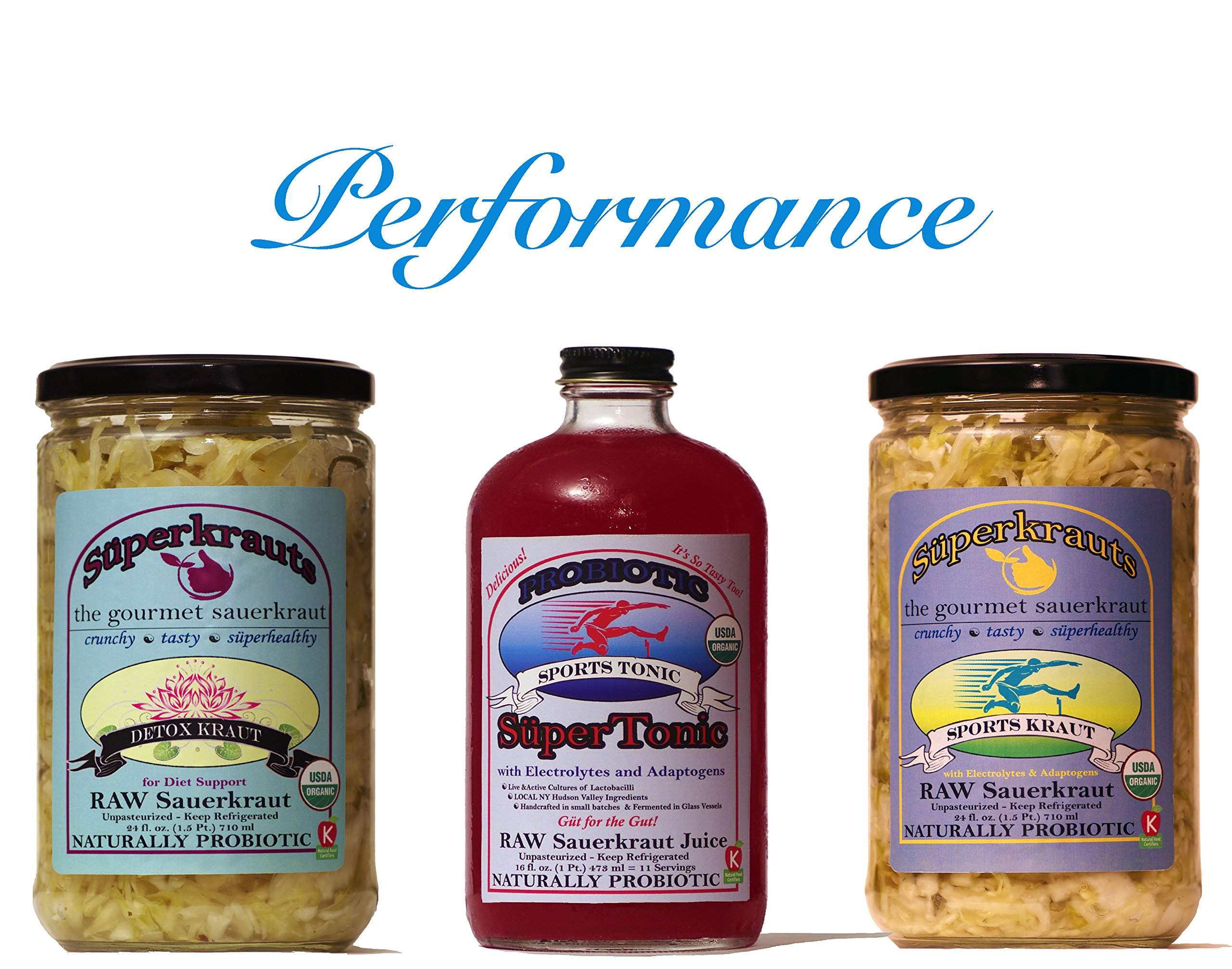 Performance combo-pack: raw fermented sauerkraut, organic, probiotic, kosher and unpasteurized No shipping charges with this combo pack.