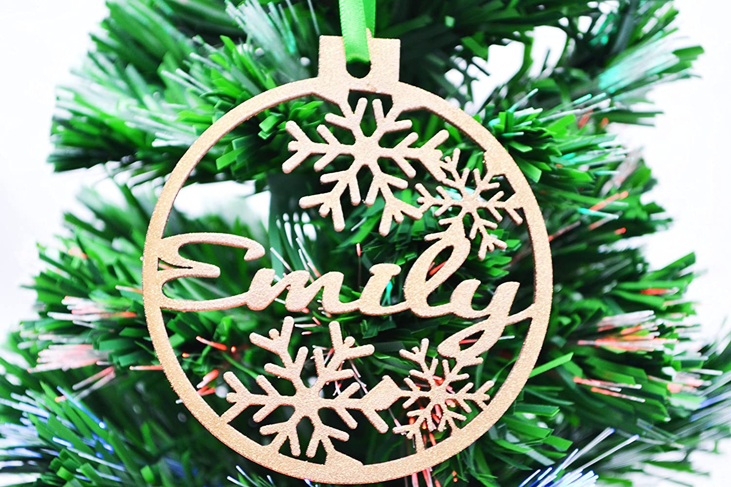 Lasercraft Personalised Wooden Christmas Tree Decoration Baubles Red
