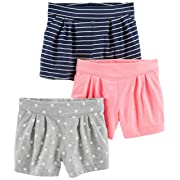 Simple Joys by Carter's Baby Girls' Toddler 3-Pack Knit Shorts, Pink, Gray Dot, Navy Stripe, 5T