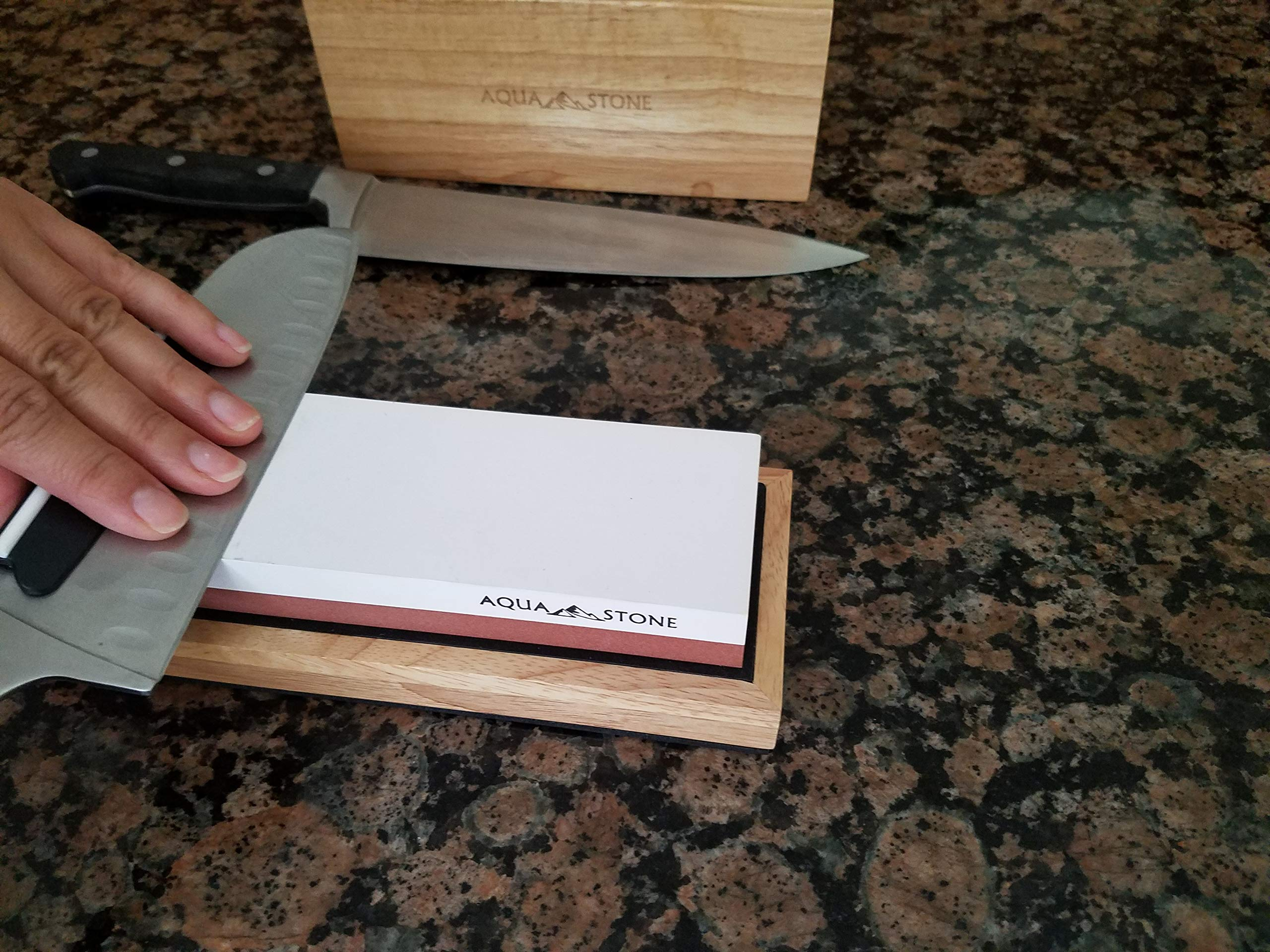 Professional Knife Sharpener 2 Side Sharpening Stone Kit For Chefs, Home Kitchen Knives.Whetstone Grit 1000/6000 Watersone,NonSlip Wood Base, FREE Angle Guide, Silicone Base with Stylish Wood GIFT Box by Aquastone (Image #3)