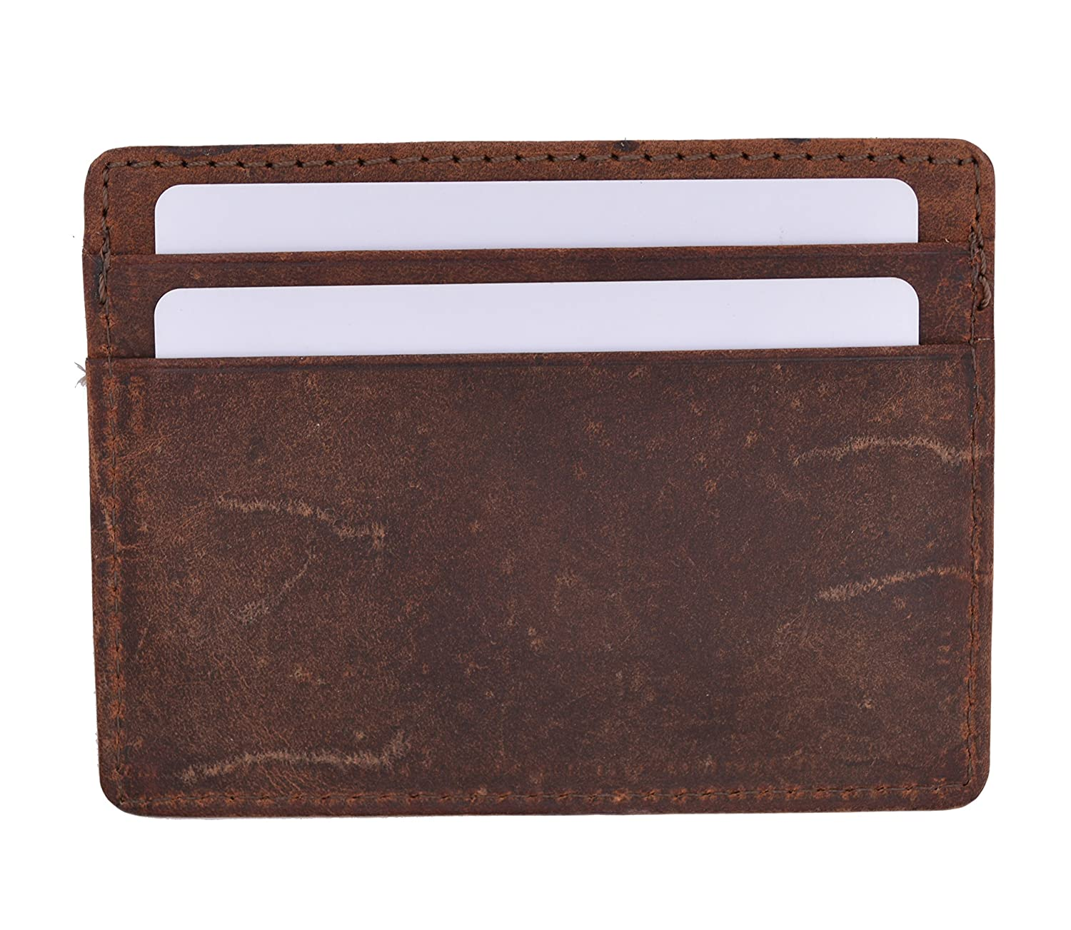 RFID Blocking Slim Vintage Look Leather Wallet Credit Card Case Sleeve Card Holder Thin Wallet