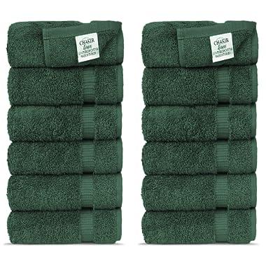 Chakir Turkish Linens Luxury Hotel & Spa Washcloths Turkish Cotton, 13  x 13 , Set of 12 (Moss)