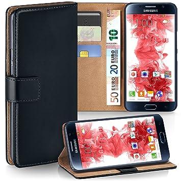 moex Samsung Galaxy S6   Hülle Schwarz mit Karten-Fach 360° Book Klapp-Hülle Handytasche Kunst-Leder Handyhülle für Samsung G