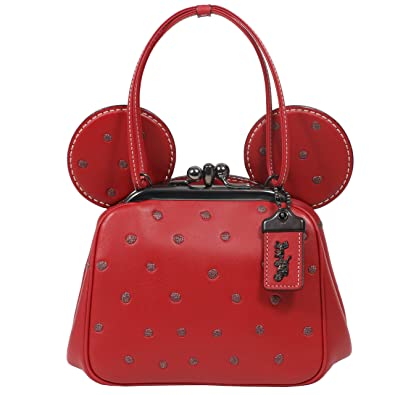 90dea08a12 Amazon.com  Coach Mickey Bag Crossbody Saddle Leather with Mickey Ears Kiss  Lock (Red)  Shoes