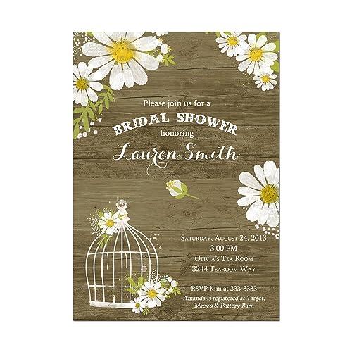 amazon com rustic daisy and birdcage bridal shower invitations