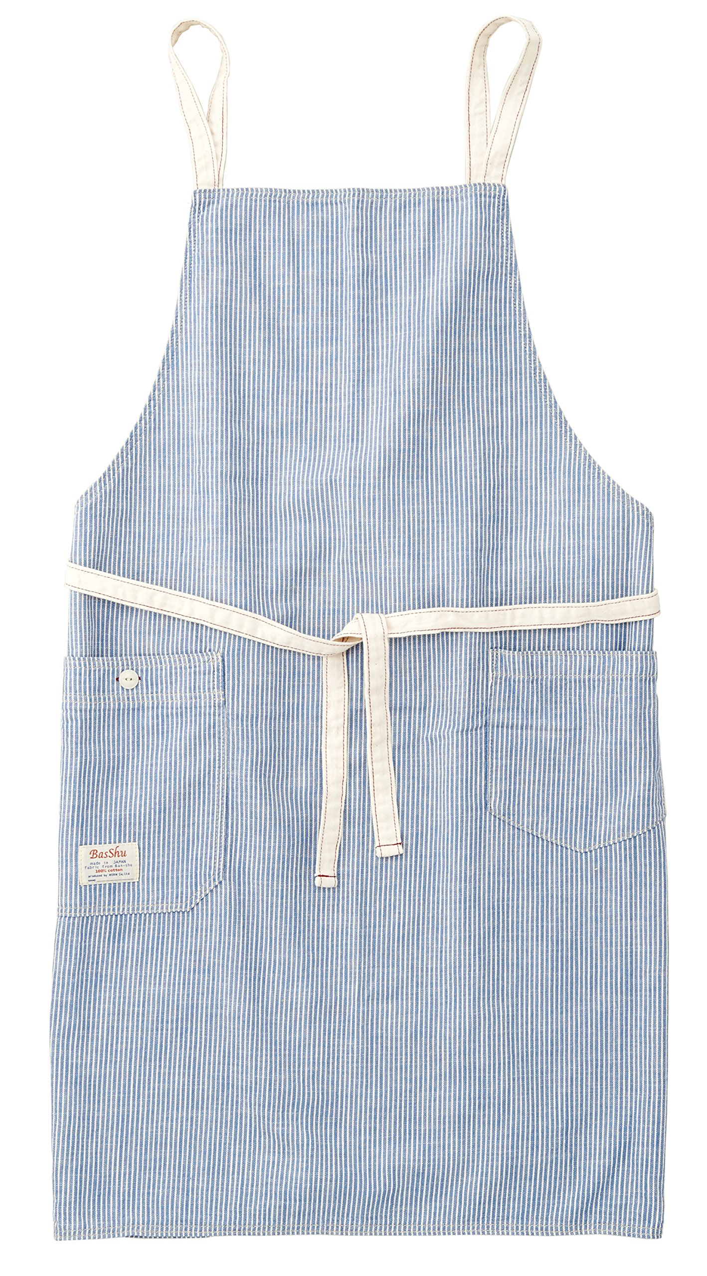 Chambray Bib Apron (Pinstripe Blue ) by BasShu