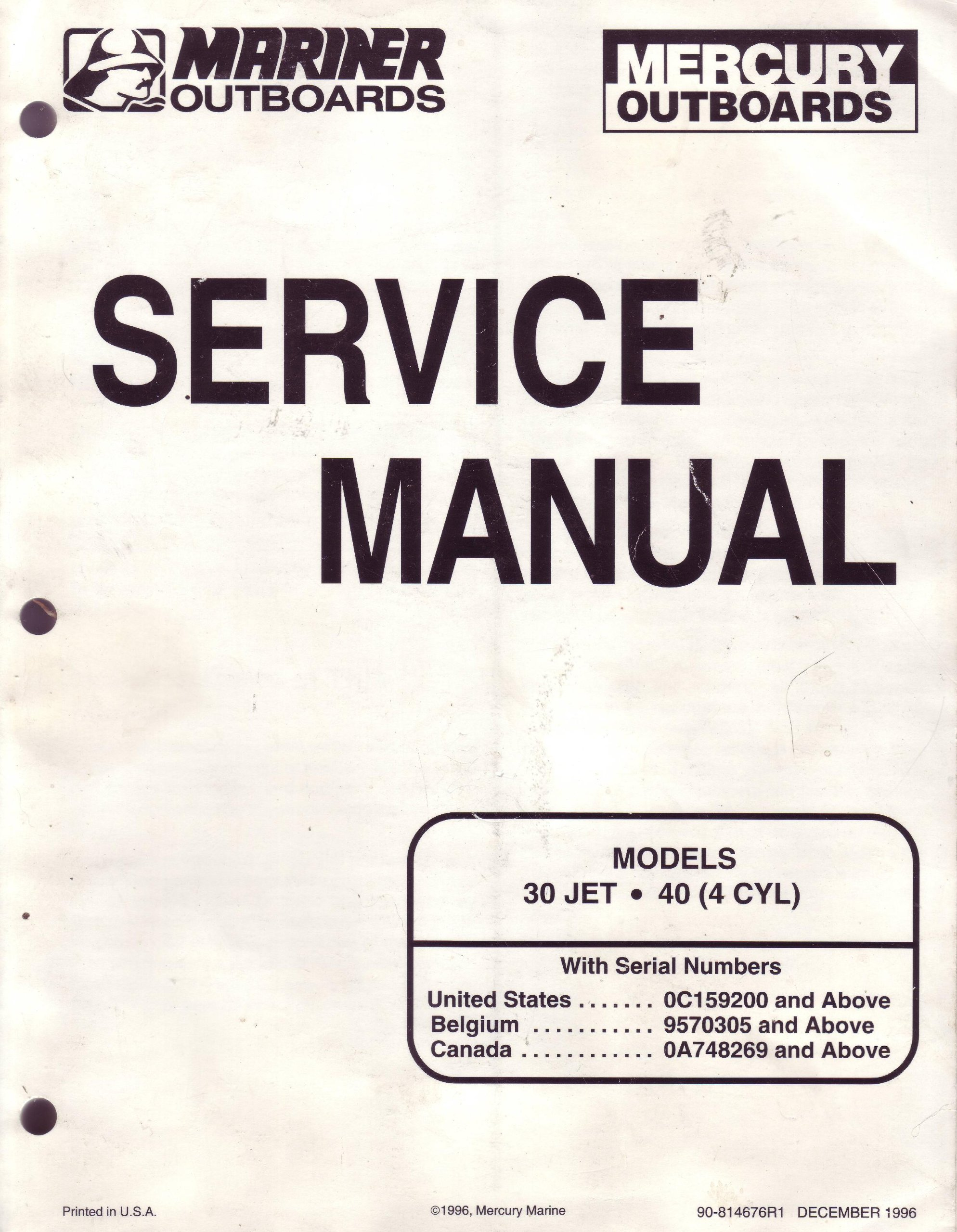mariner mercury outboards service manual models 30 jet 40 4 cyl rh amazon  com Mercury Outboard Engine Service Manual 1996 mercury outboard owners  manual