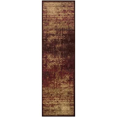 Superior Modern Afton Acid Wash Collection Area Rug, 10mm Pile Height with Jute Backing, Vintage Distressed Design, Anti-Static, Water-Repellent Rugs - Auburn, 2'7  x 8' Runner