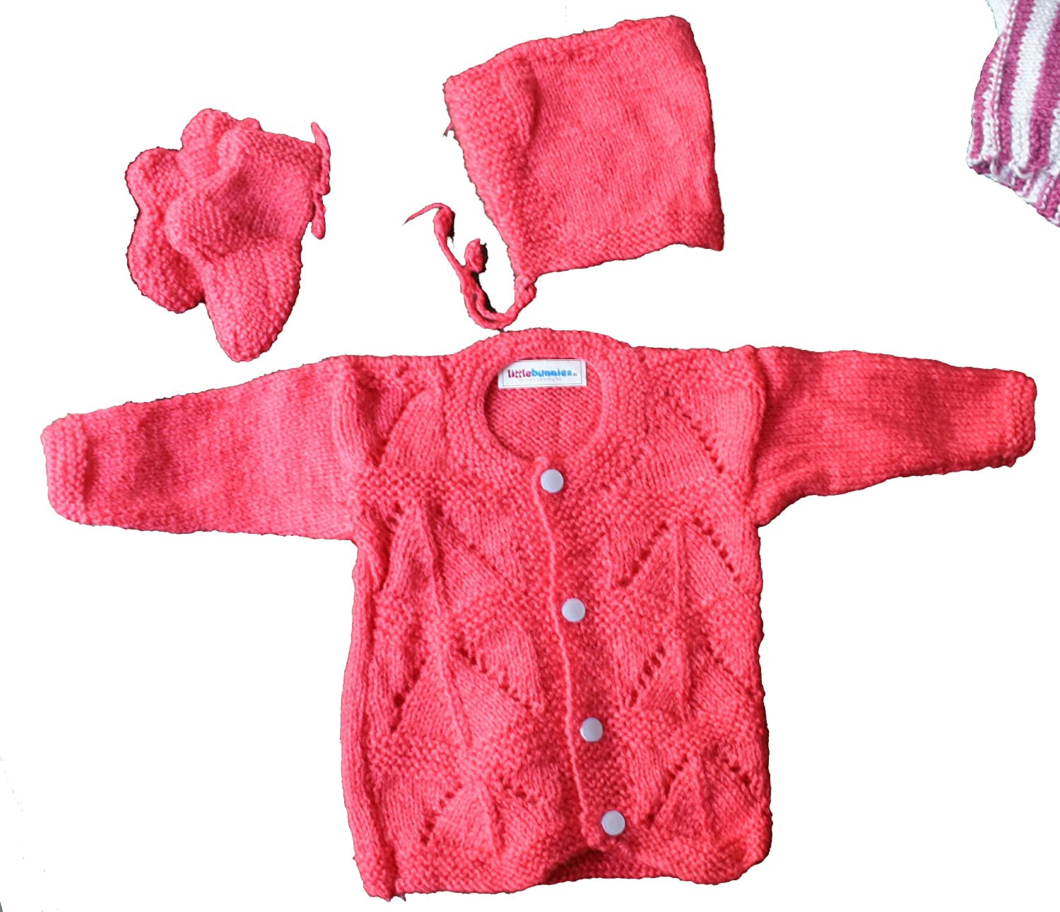 f8b60ba97 Little Bunnies Newborn Baby s Handknit Woollen Winter Clothing Set ...