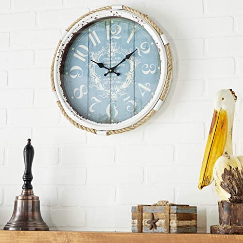 Deco 79 52558 Metal Rope Glass Wall Clock