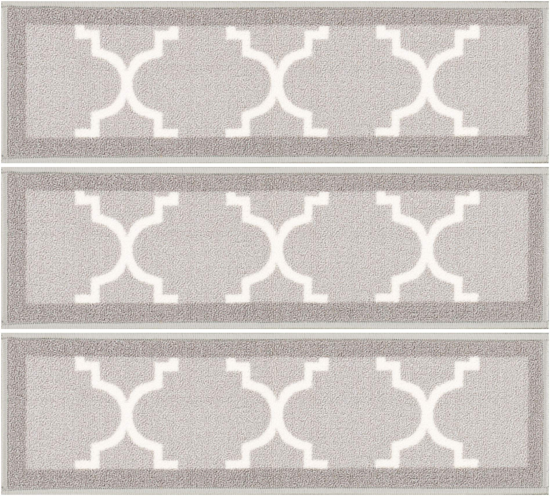 [Set of 7] Grey Stair Tread Rugs | Modern Design Trellis Lattice Carpet Pads [Easy to Clean] Rubber Non-slip Non-skid Backing | Nylon Low Pile 9'' x 31'' Stair Treads