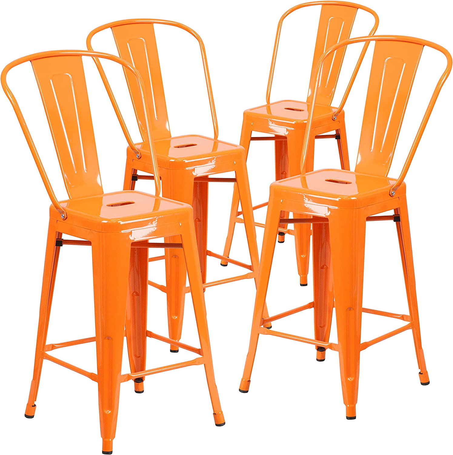 Flash Furniture 4 Pk. 24'' High Orange Metal Indoor-Outdoor Counter Height Stool with Back