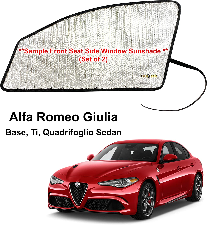YelloPro Auto Side Window Front Seat Reflective Sunshade Custom Fit for 2017 2018 2019 2020 Alfa Romeo Giulia Base, Ti, Quadrifoglio Sedan, UV Reflector Sun Protection Accessories (Set of 2)