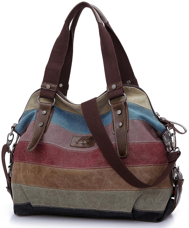 02041aa6c2 HASAGEI Women's Canvas Multi-Color Hobos Shoulder Bag Tote Handbag:  Amazon.co.uk: Luggage
