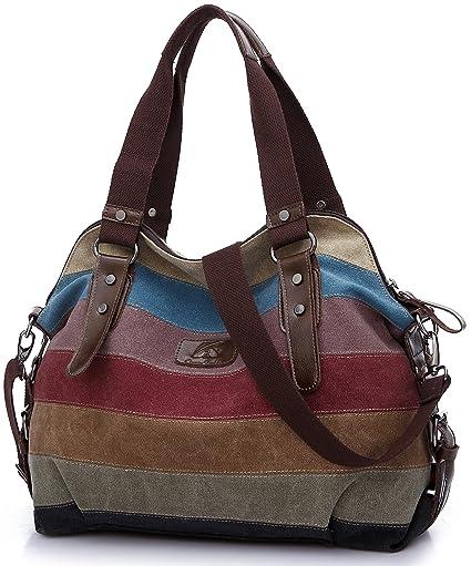 HASAGEI Women s Canvas Multi-Color Hobos Shoulder Bag Tote Handbag   Amazon.co.uk  Luggage bea36367a01b2
