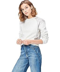 FIND Women's Sweatshirt with Velvet Contrast Panelling, Grey (Colour Mix), 12 (Manufacturer Size: Medium)