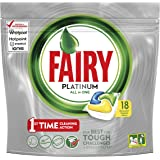 Fairy Platinum All In One Dishwasher Tablets Lemon, 18 Tablets Per Pack (Pack of 5, 90 Tablets)