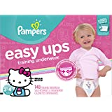 Pampers Easy Ups Training Pants Pull On Disposable Diapers for Girls Size 5 (3T-4T), 148 Count, ONE MONTH SUPPLY