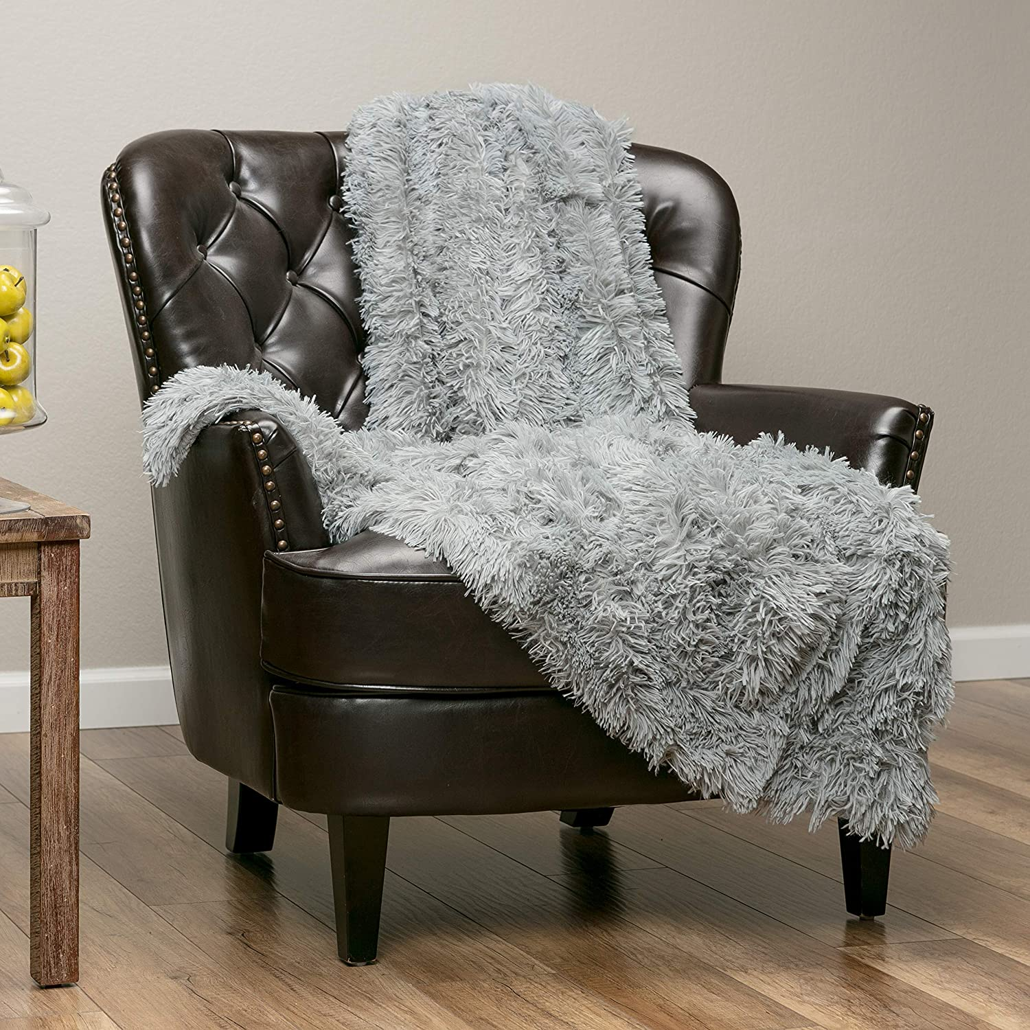 "Chanasya Super Soft Shaggy Longfur Throw Blanket | Snuggly Fuzzy Faux Fur Lightweight Warm Elegant Cozy Plush Sherpa Microfiber Blanket | for Couch Bed Chair Photo Props - 50""x 65"" - Grey"
