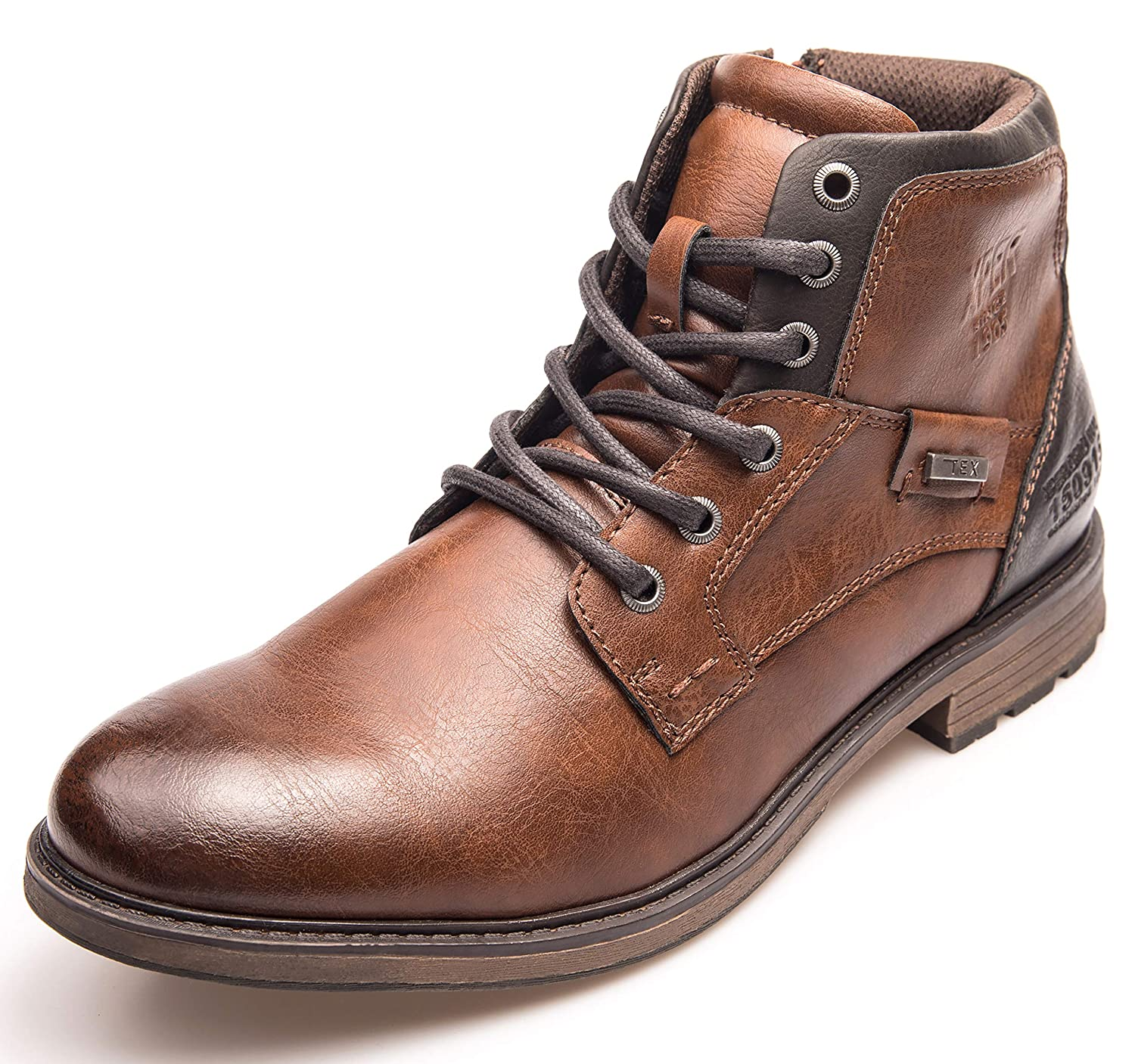 59a00ddc6b Amazon.com: XPER Men's Brown Fashion Footwear Lace up Motorcycle Boots for Men  Combat Winter Ankle Boots Causal Men Shoes: Shoes