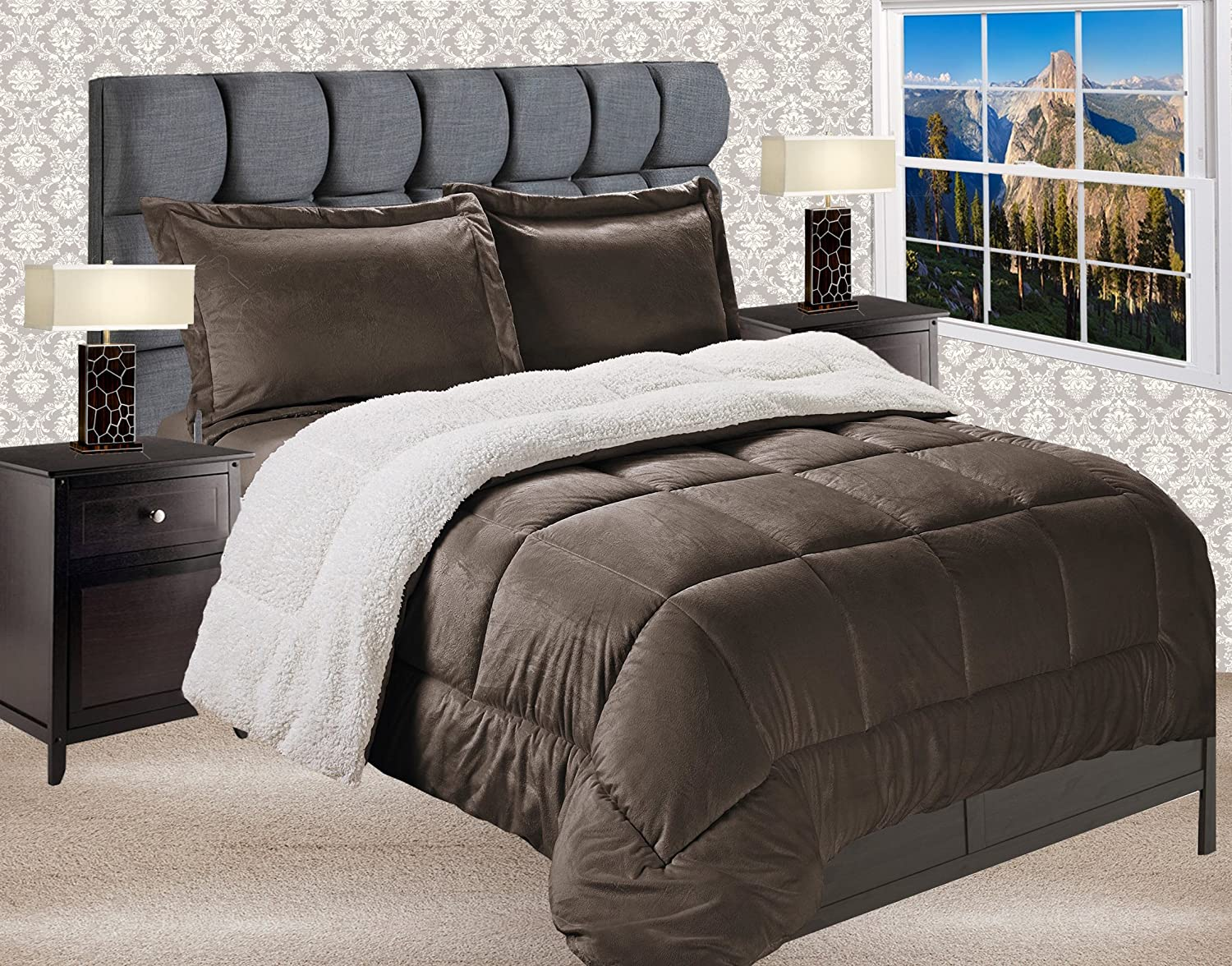 Elegant Comfort Premium Quality Heavy Weight Micromink Sherpa-Backing Reversible Down Alternative Micro-Suede 3-Piece Comforter Set, King, Chocolate Brown