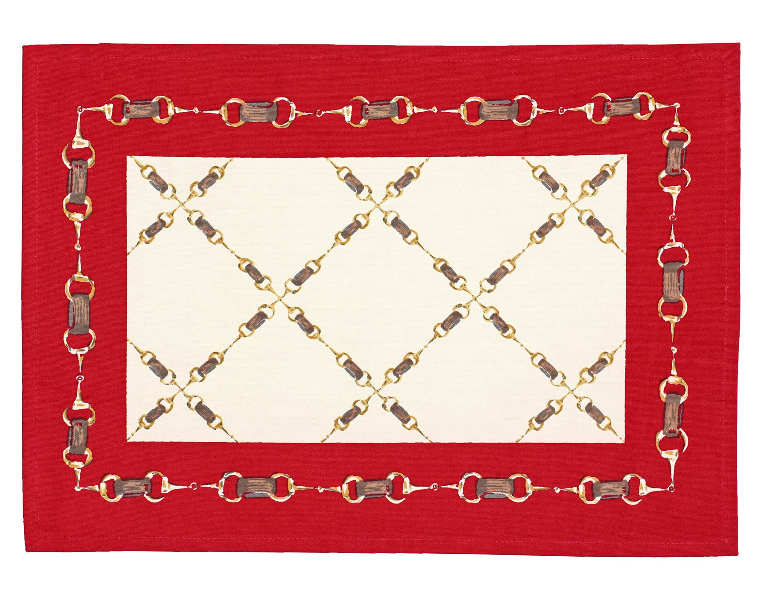 Indian Cotton Placemats for the Kitchen Table - Red Offwhite Geometrical- Set of 6 Washable 13'' x 19'' Place Mats