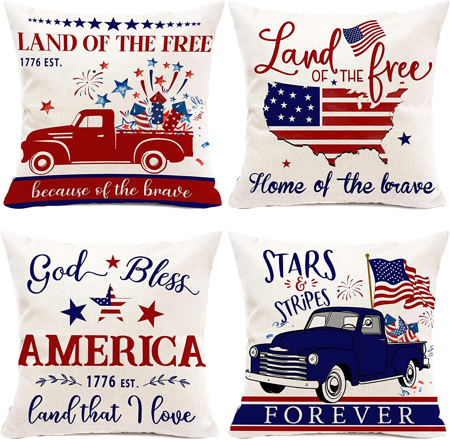 Hexagram July 4th Pillow Covers 18x18 Set of 4, American Flag Patriotic Pillows Decorative Independence Day Truck Throw Cushion Pillow Cases for Couch, Sofa, Bedroom Outdoor/Indoor Home Decorations