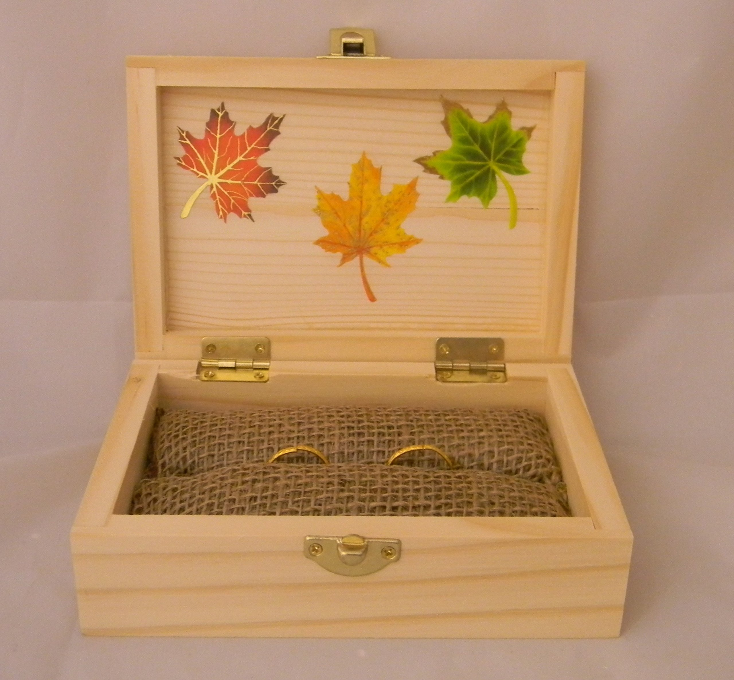 Wedding Party ceremony Fall Leaves ring bearer pillow Box