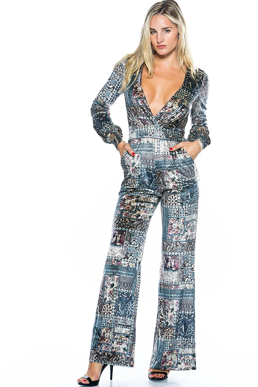 b517ee62699 Women s Velvet Multi Jumpsuit Romper Playsuit Deep V Neck Bodycon Long  Sleeve S M Mersi Boutique Casual
