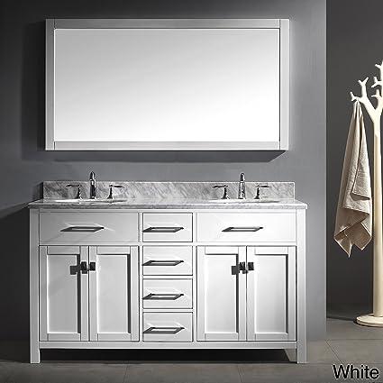 Virtu USA MD 2060 WMSQ WH Caroline 60 Inch Bathroom Vanity With