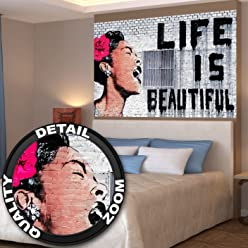 Poster Banksy Graffiti Künstler Wandbild Dekoration Life is Beautiful Pop Art Street Style Street Art Stencil Straßenkünstler | Fotoposter Wanddeko Bild Wandgestaltung by GREAT ART (140 x 100 cm)