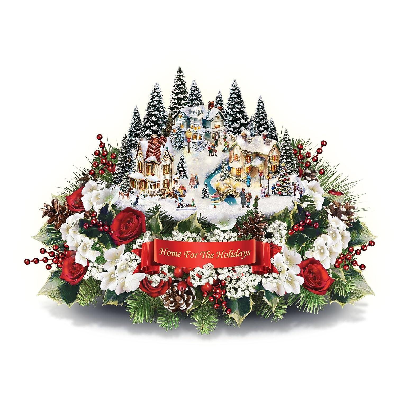 Christmas Village.The Bradford Exchange Home For The Holidays Christmas Village Centrepiece With Floral Decoration By Thomas Kinkade
