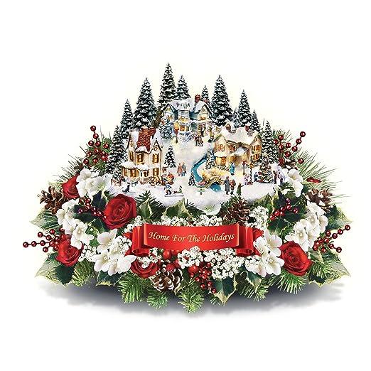 Thomas Kinkade Home para las vacaciones centro de mesa de flores ...