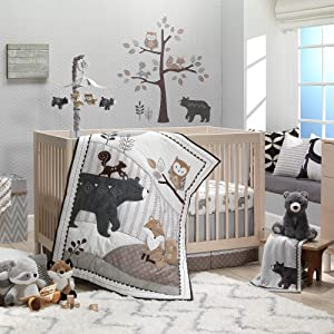 Lambs & Ivy Woodland Forest Animal Nursery 5-Piece Baby Crib Bedding Set - Gray
