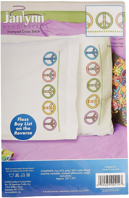 Peace Sign JANLYNN Stamped Cross Stitch Pillowcase Pair 20X30