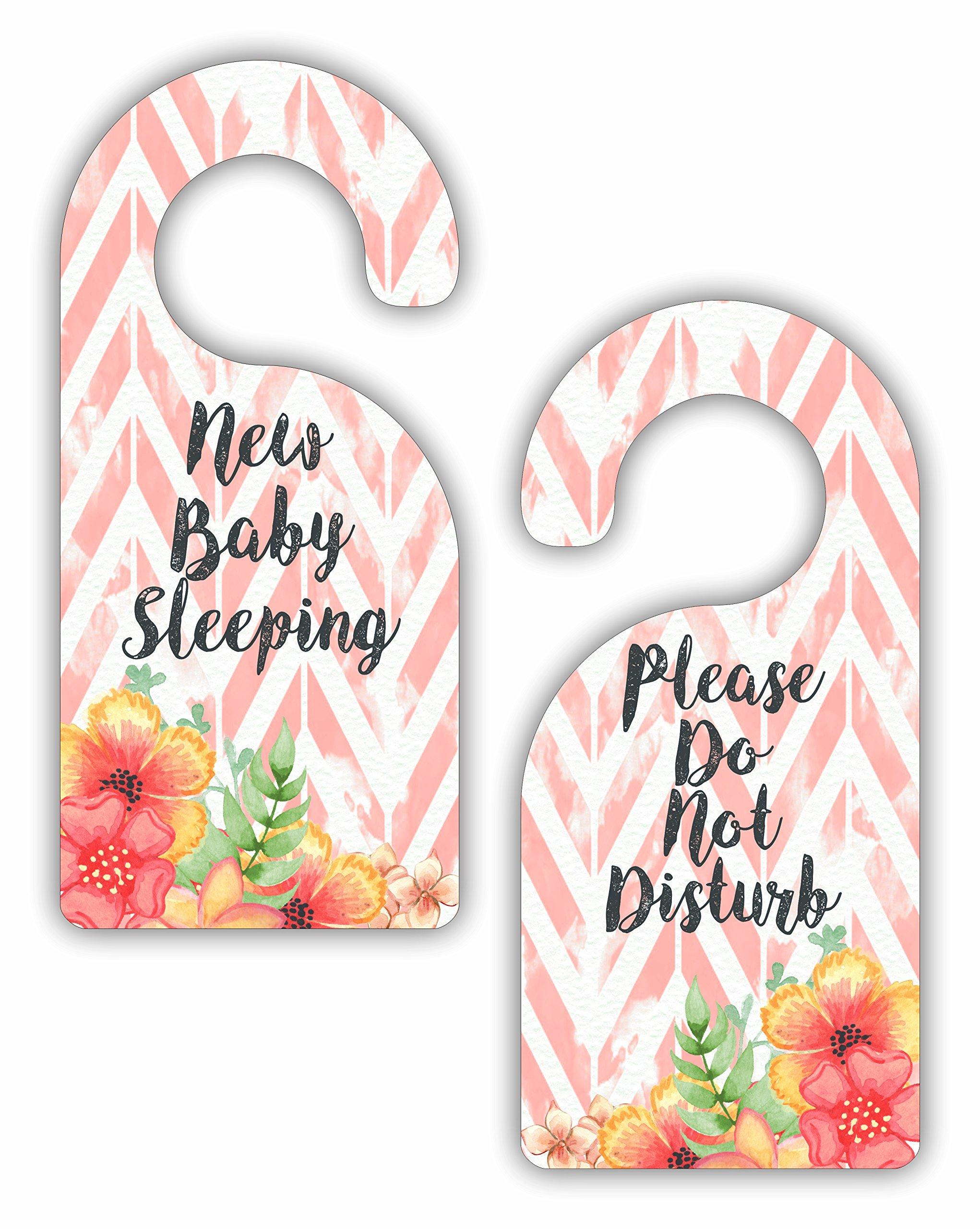 New Baby Sleeping - Please Do Not Disturb - Girls Nursery Room Door Sign Hanger - Double Sided - Hard Plastic - Glossy Finish