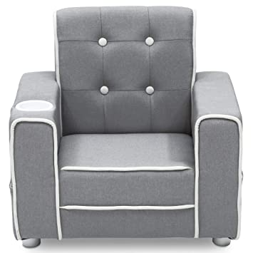 Marvelous Delta Children Chelsea Kids Upholstered Chair With Cup Holder Soft Grey Gmtry Best Dining Table And Chair Ideas Images Gmtryco