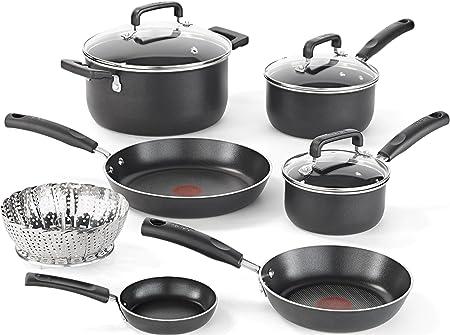 T-fal 2100099372 B167SA64 Cookware Set, 10-Piece, Black